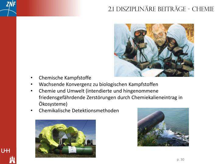 2.1 Disziplinäre Beiträge - Chemie