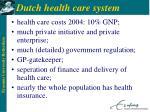 dutch health care system