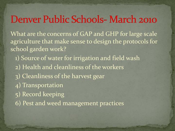 Denver Public Schools- March 2010
