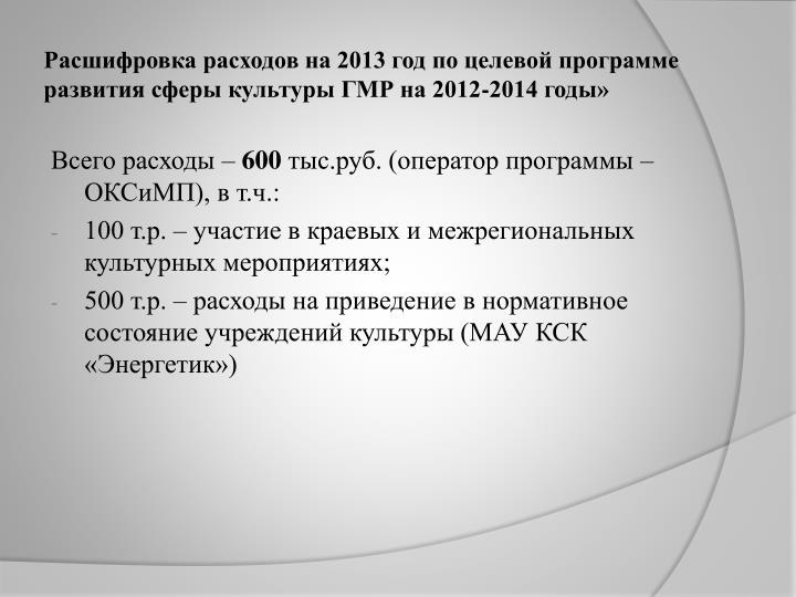 Расшифровка расходов на 2013 год по целевой программе развития сферы культуры ГМР на 2012-2014 годы»