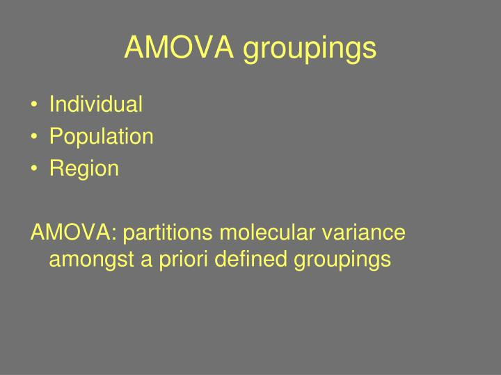 AMOVA groupings