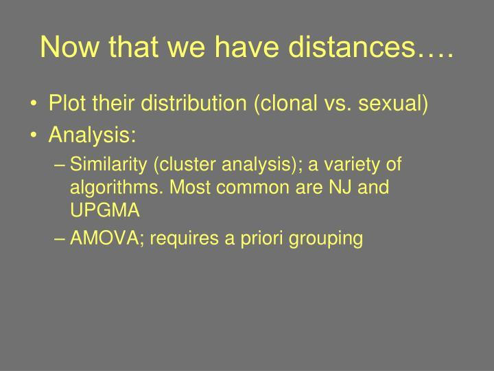 Now that we have distances….