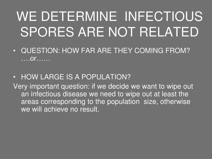 WE DETERMINE  INFECTIOUS SPORES ARE NOT RELATED