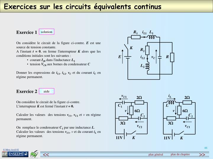 Exercices sur les circuits équivalents continus