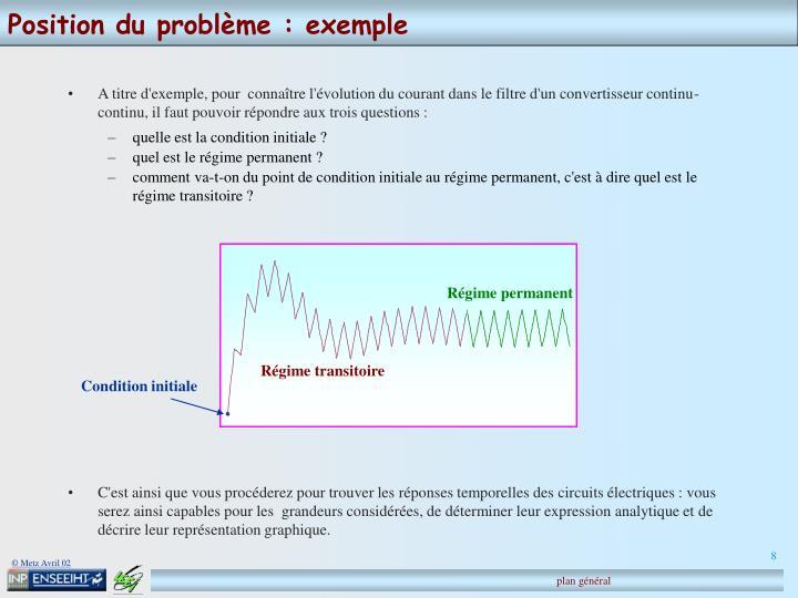 Position du problème : exemple