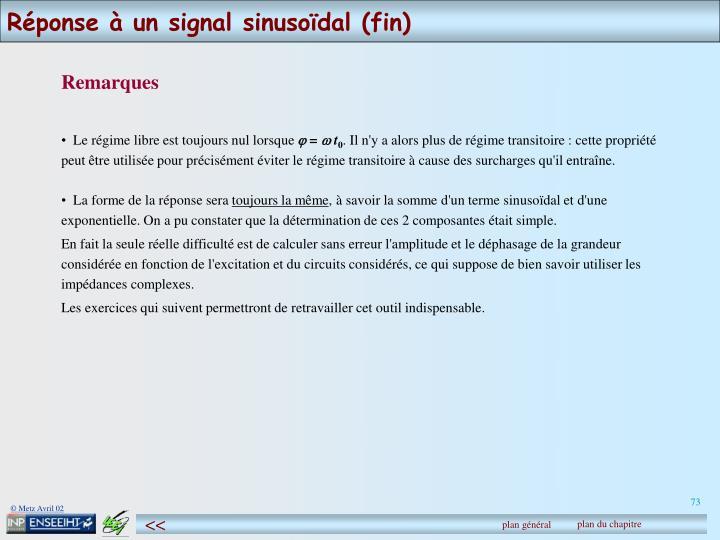 Réponse à un signal sinusoïdal (fin)