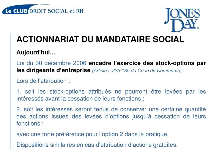 ACTIONNARIAT DU MANDATAIRE SOCIAL