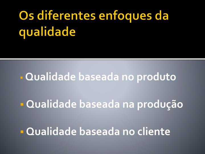 Os diferentes enfoques da qualidade