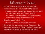 adjusting to peace