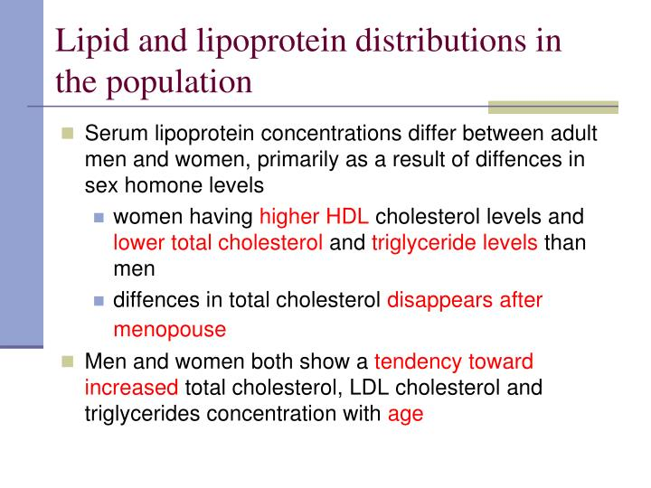 Lipid and lipoprotein distributions in the population