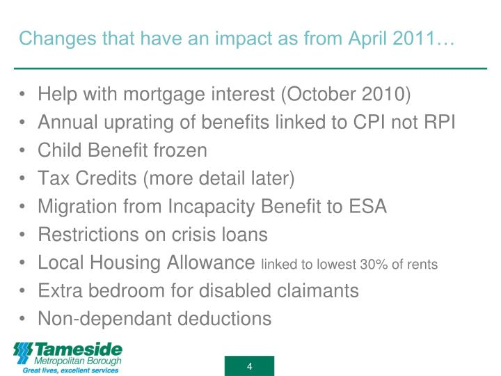 Changes that have an impact as from April 2011…
