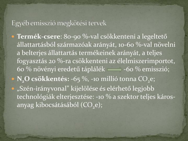 Egyéb emisszió megkötési tervek