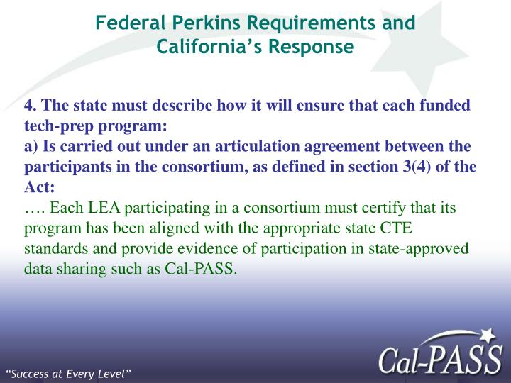 Federal Perkins Requirements and