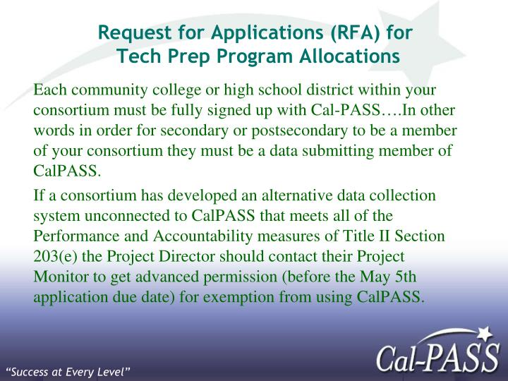 Request for Applications (RFA) for