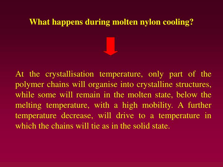 What happens during molten nylon cooling?