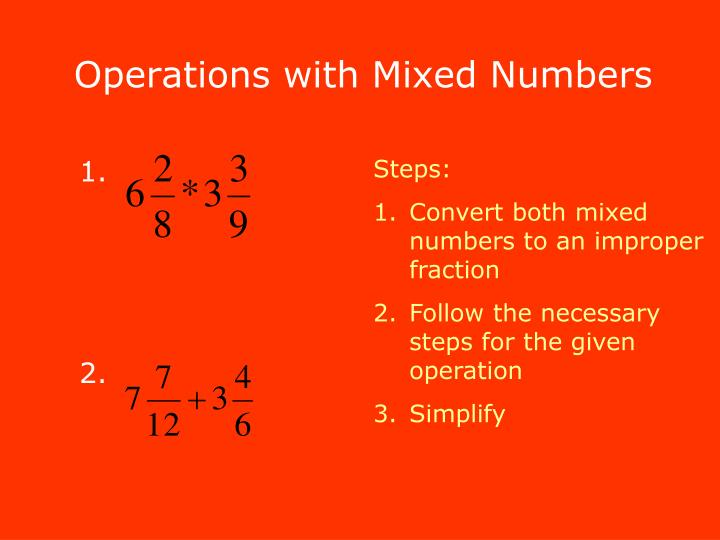 Operations with Mixed Numbers