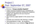 project i due september 07 2007