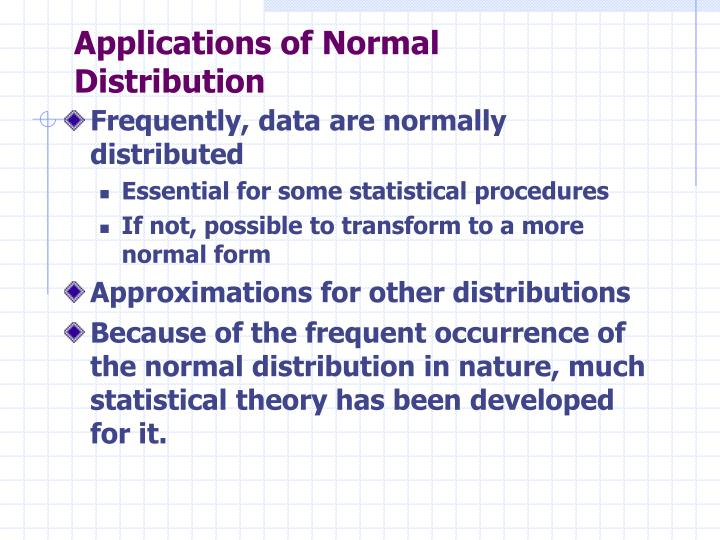 Applications of Normal Distribution
