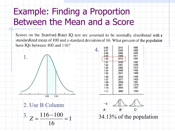 Example: Finding a Proportion Between the Mean and a Score