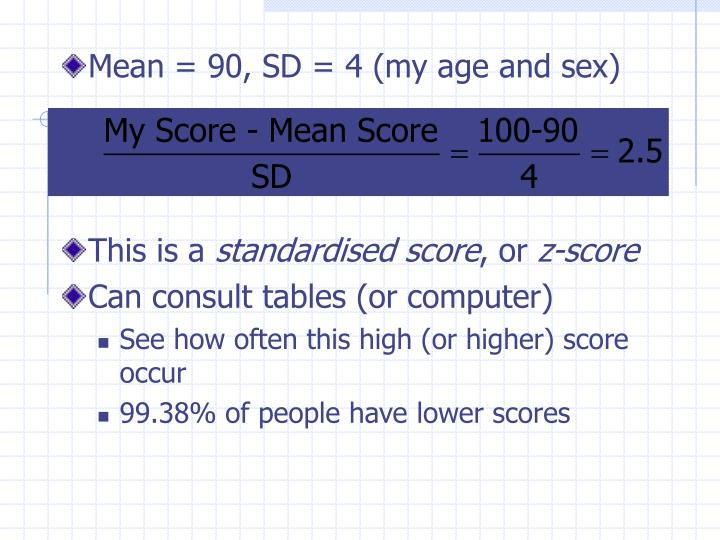 Mean = 90, SD = 4 (my age and sex)