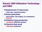 recent cbm utilization technology and r d