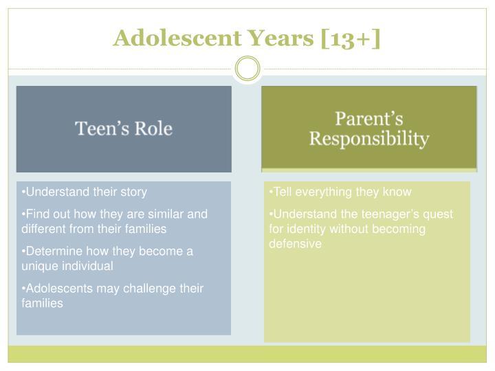 Adolescent Years [13+]