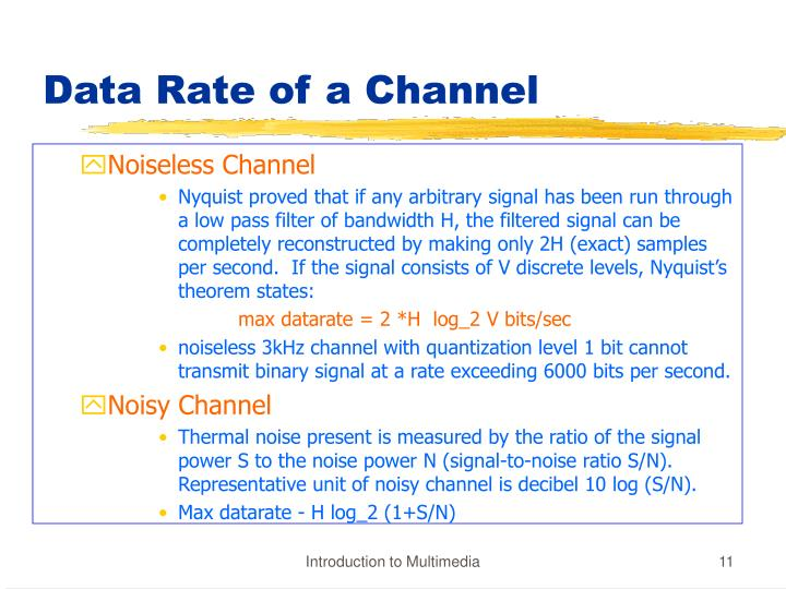 Data Rate of a Channel
