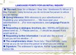 language points for an initial inquiry