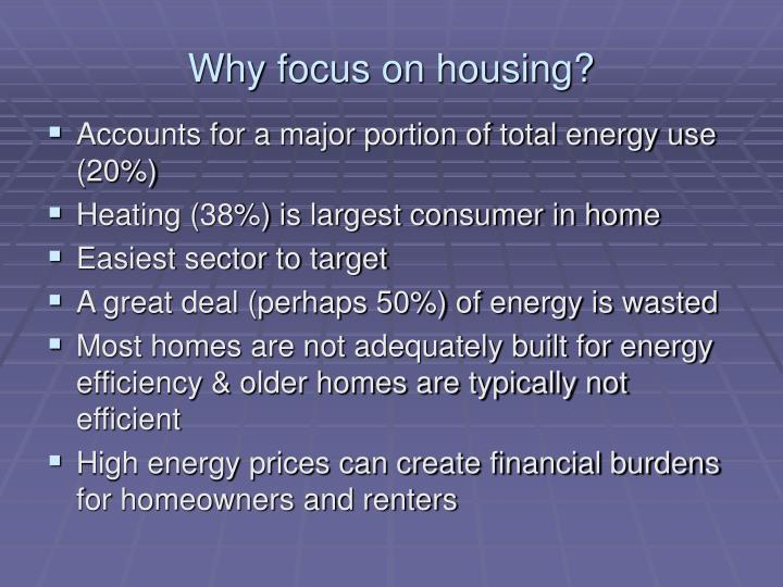 Why focus on housing?