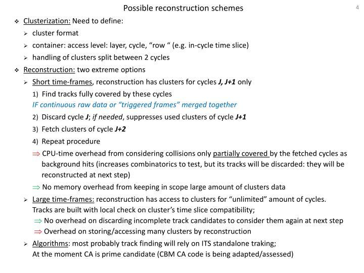 Possible reconstruction schemes