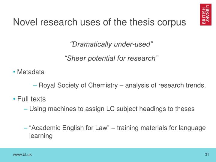 e-thesis online full text To search for theses by author, by title or by subject (disciplinary) you may search as following : author you can also type in the name, name of advisor or faculty for example.