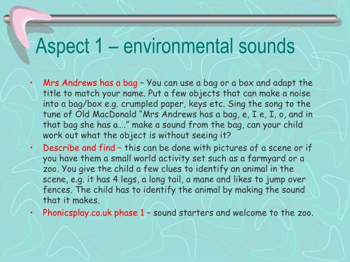 Aspect 1 – environmental sounds