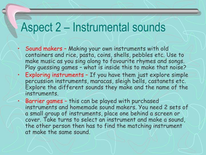 Aspect 2 – Instrumental sounds
