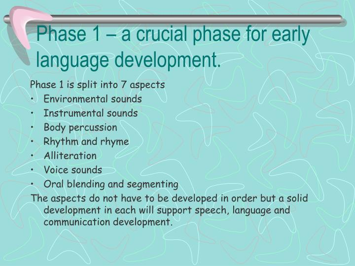 Phase 1 – a crucial phase for early language development.