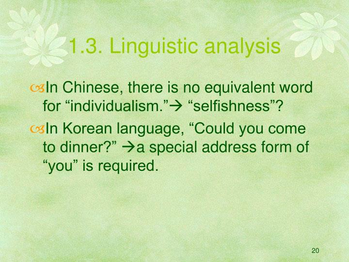 1.3. Linguistic analysis
