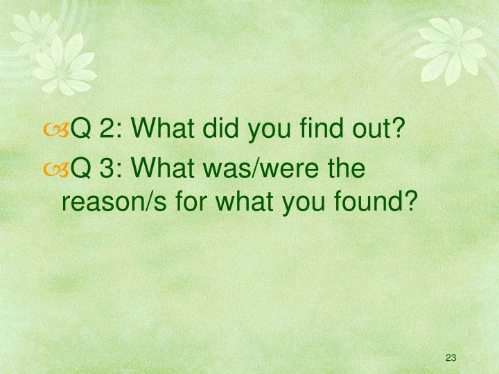Q 2: What did you find out?