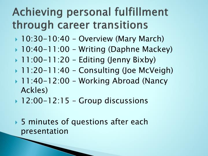 achieving personal fulfillment through career transitions n.
