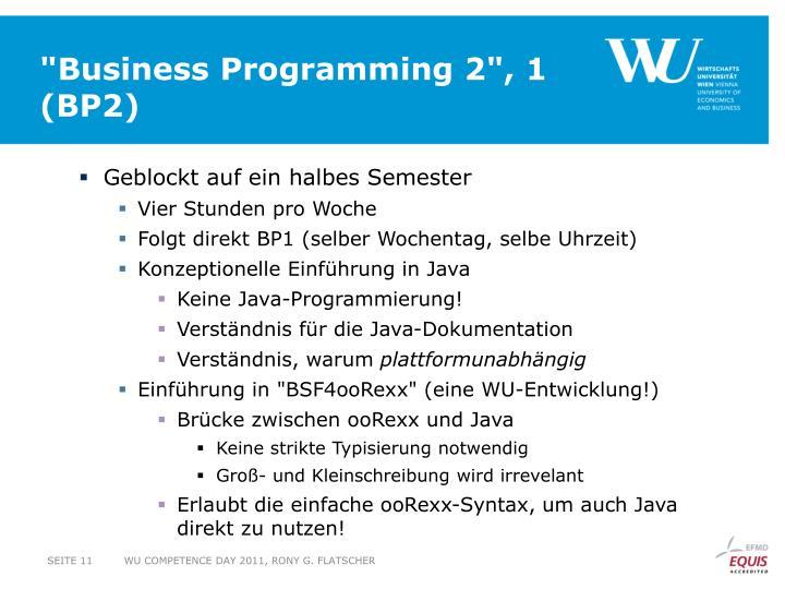 """Business Programming 2"", 1"
