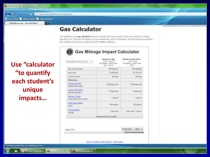 "Use ""calculator ""to quantify each student's unique impacts…"