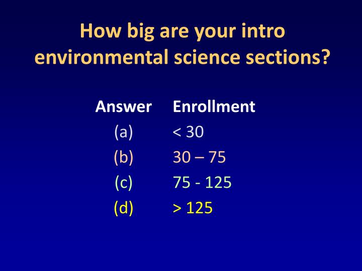 How big are your intro environmental science sections?