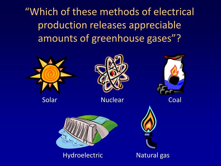 """""""Which of these methods of electrical production releases appreciable"""