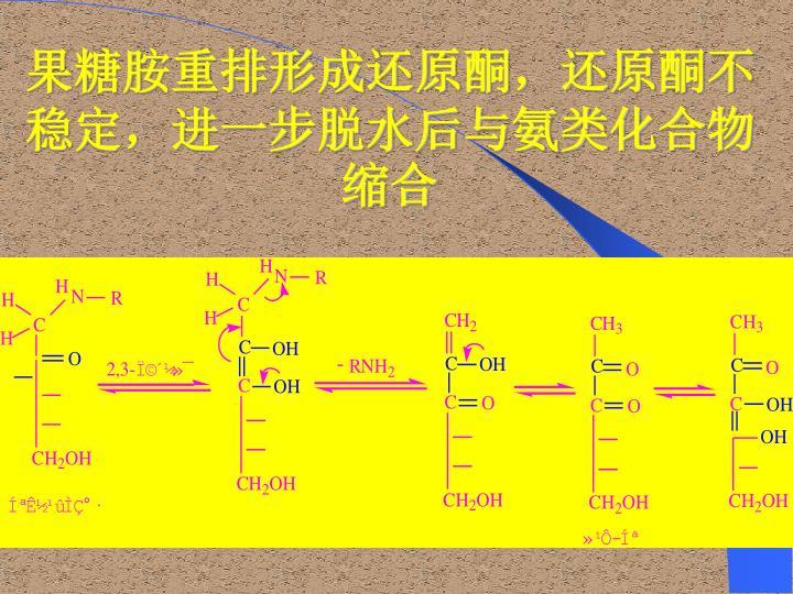 果糖胺重排形成还原酮,还原酮不稳定,进一步脱水后与氨类化合物缩合