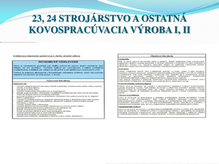 23, 24 STROJÁRSTVO AOSTATNÁ KOVOSPRACÚVACIA VÝROBA I, II