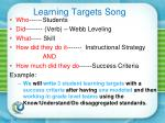learning targets song