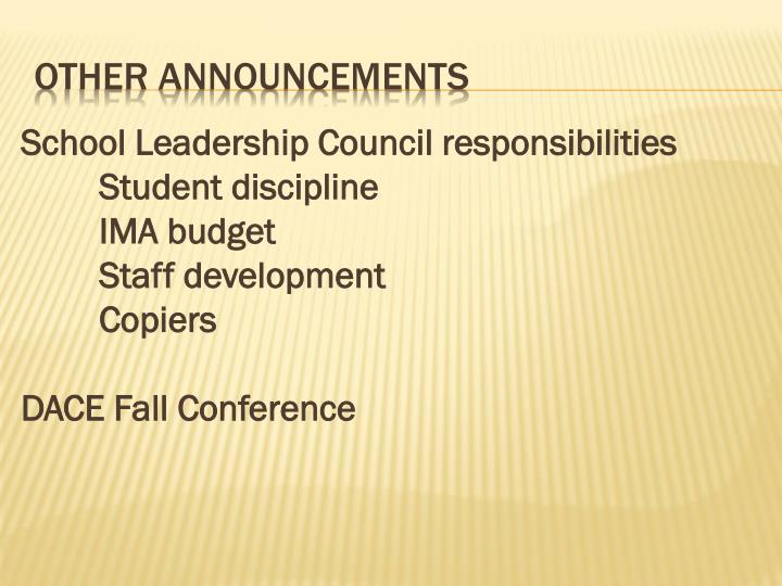 School Leadership Council responsibilities