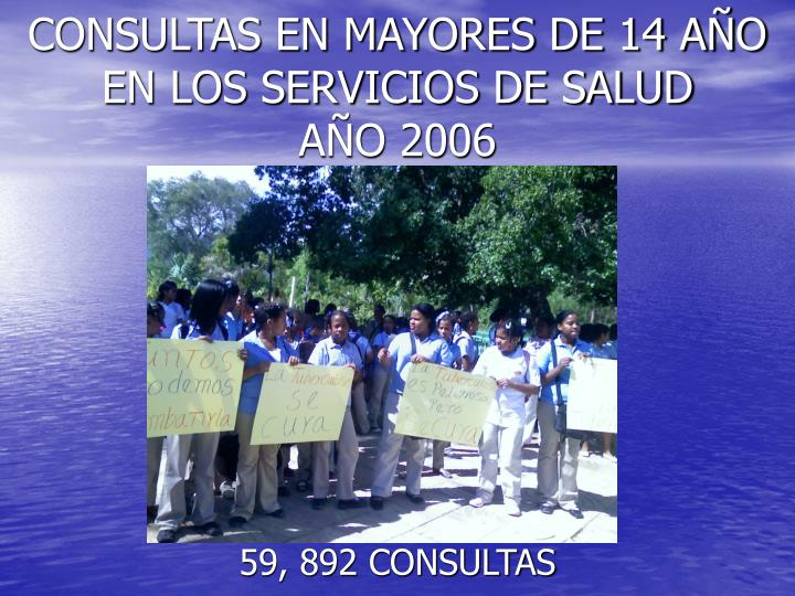 CONSULTAS EN MAYORES DE 14 AÑO EN LOS SERVICIOS DE SALUD       AÑO 2006
