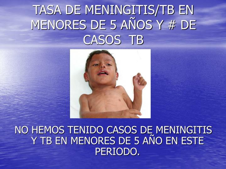 TASA DE MENINGITIS/TB EN MENORES DE 5 AÑOS Y # DE CASOS  TB