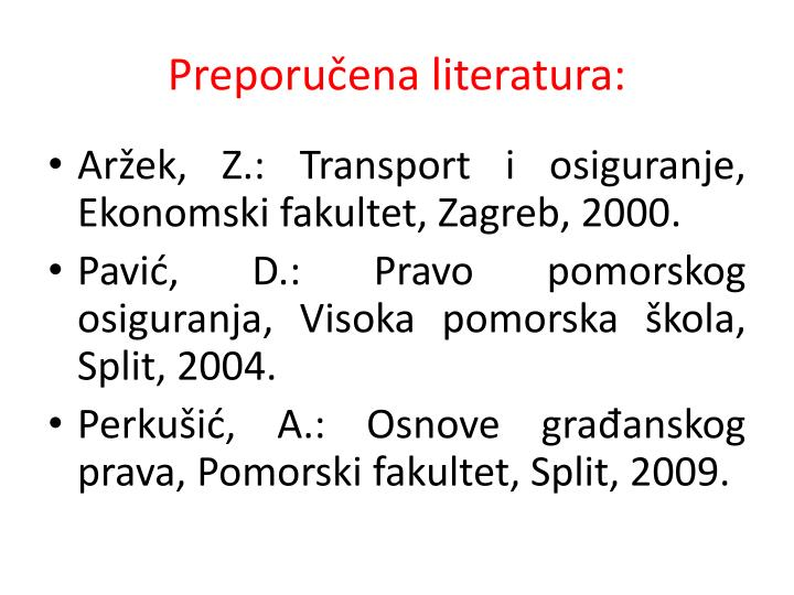 Preporučena literatura: