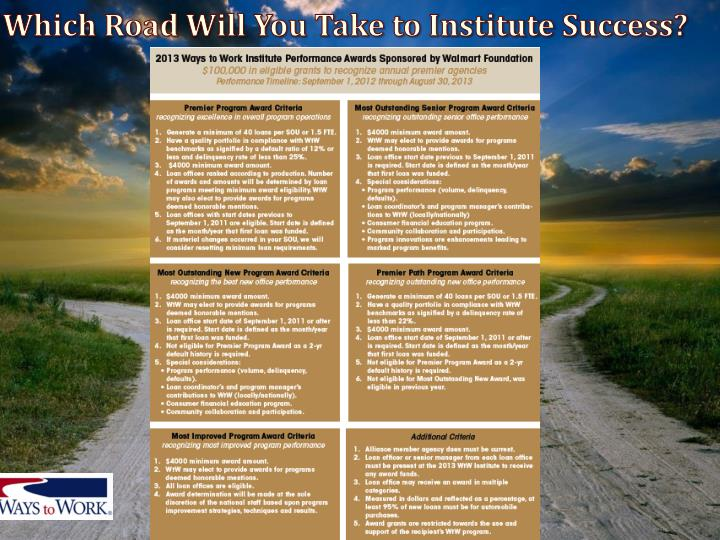 Which Road Will You Take to Institute Success?