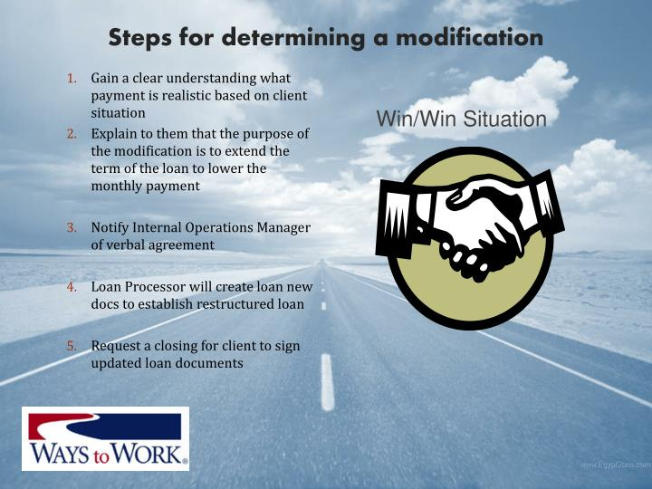Steps for determining a modification